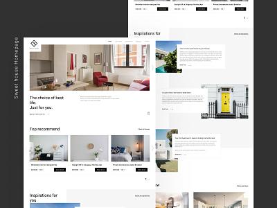 Sweet house real estate platform home page webflow typography landing page homepage design minimalism clean ui architechture web branding
