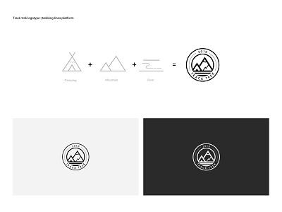 Track trek logo logo traveling minimalism design branding