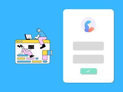 Flat UI Design Login Concept login design app web startup icon login page login ux ui branding illustration flat design