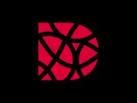 "Design ""D"" typography vector ui icon branding illustration redesign logo retro basket red d design debut rebound"