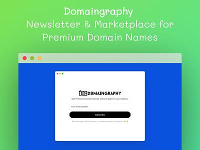 Introducing Domaingraphy domain marketplace illustration media invite branding design flat logo domain name names premium domains