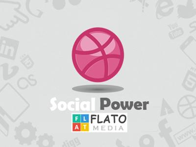 Social Power Of Media media flat flatomedia flato dribbble shot blue social