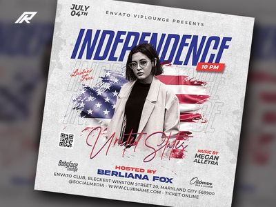 Independence Day 4th July Flyer memorial day independence day dj flyer