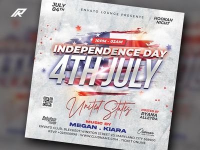 Independence Day Party Flyer united states flyer memorial day independence day dj flyer