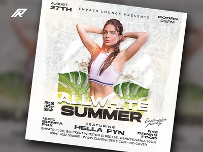 Summer Party Flyer tropical party beach party dj flyer
