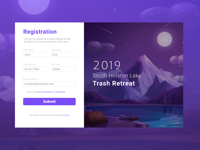 Trash Retreat Registration Form form registration signup web ui