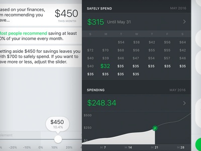 Olivia - Safely Spend strategy ui ux ios olivia