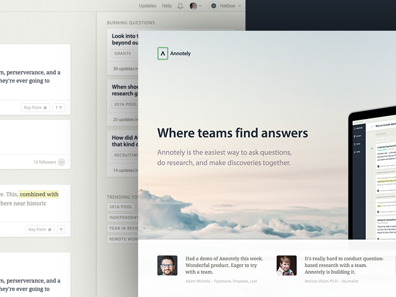 Brilliant! marketing landing page team research annotely