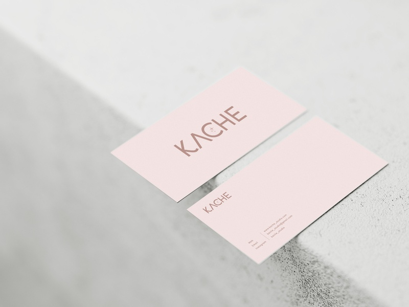 KACHE minimal vector flat logo typography business card design branding