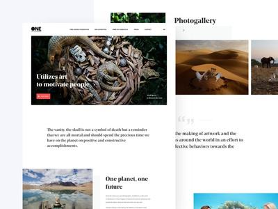 One planet, One future - Homepage noprofit typography photography website ui design