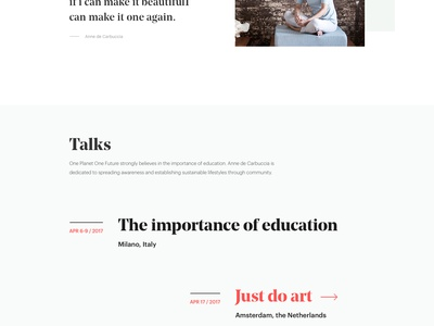 One planet, One future - Artist page noprofit typography photography website ui design