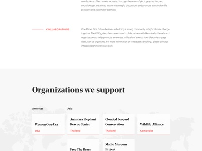 One planet, One future - The foundation noprofit map typography photography website ui design