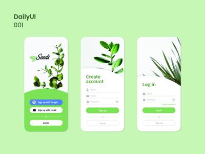 Daily UI - 001 signin signup mobile apps mobile ui uiux plants plant ux minimal web ui design ui app design userinterface uidesign dailyuichallenge dailyui 001 001 dailyui