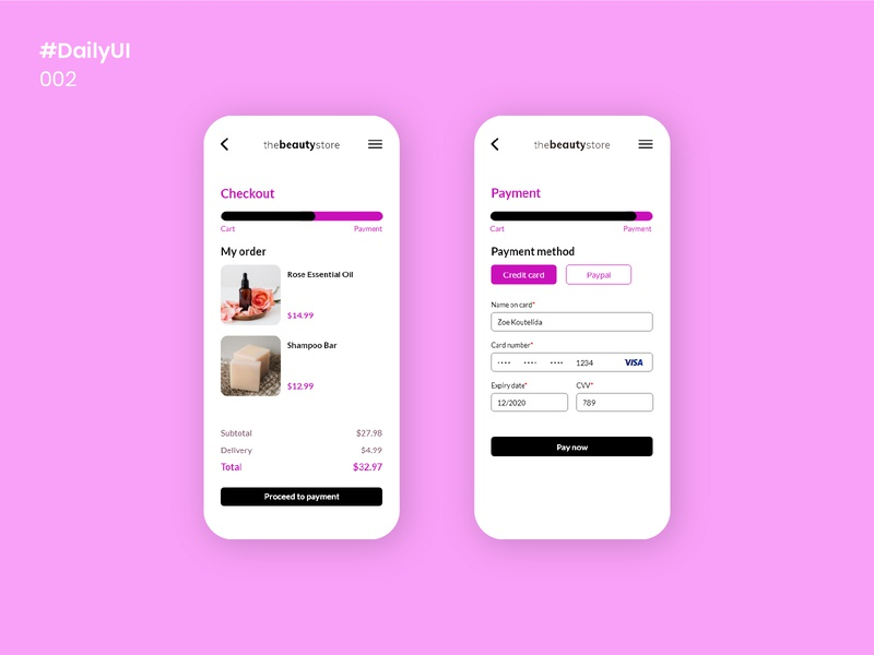 Daily UI - 002 design uidesign fuchsia simple pink beauty checkout checkout page mobile apps 002 dailyui002 dailyuichallenge ui minimal dailyui