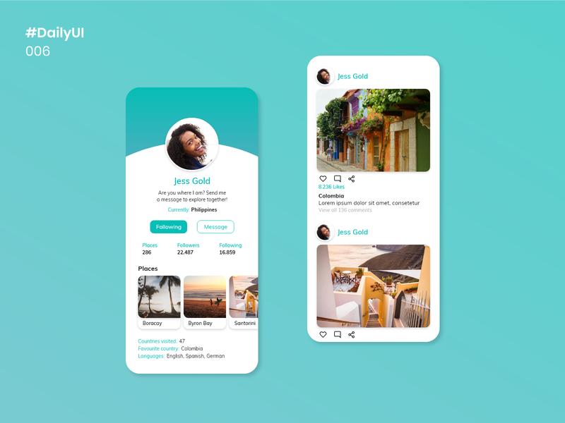 Daily UI 006 - User Profile uiux uxdesign places travelling user social media social media travel travel app dailyui006 006 uidesign mobile apps dailyuichallenge dailyui