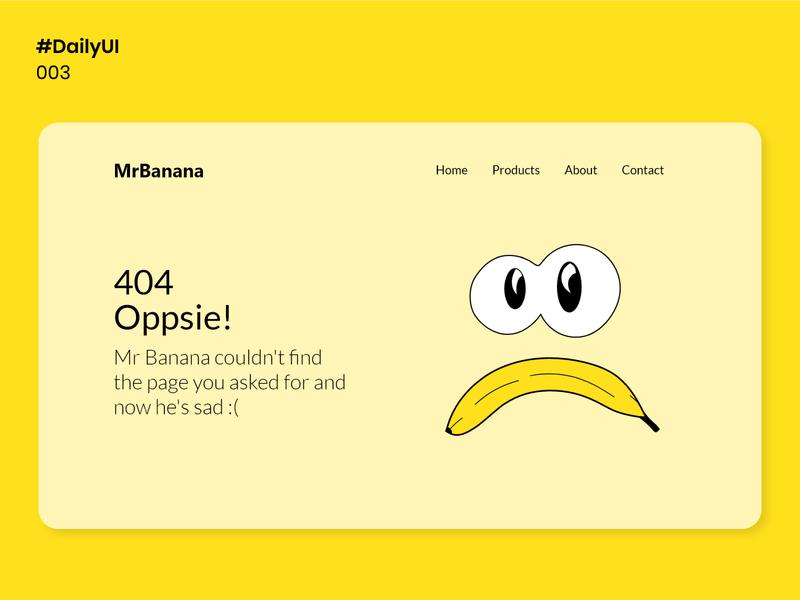 Daily UI 008 - 404 page ui design yellow uidesigns vector banana illustration 404 page 404 dailyui008 008 uidesign dailyuichallenge dailyui