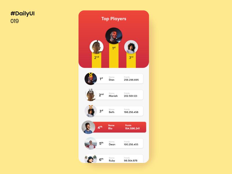 Daily UI 019 - Leaderboard leaderboard daily 100 challenge ui design mobile apps daily100challenge ui dailyuichallenge uidesign design dailyui