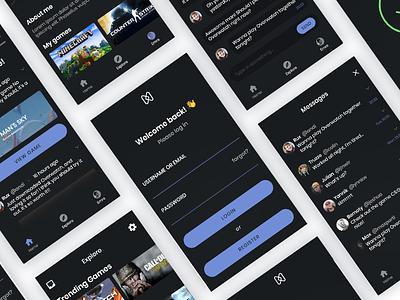Gameleap App social media iphone apple ux ui mobile dark gaming app gameleap