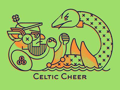 Celtic Cheer celtic leprechaun loch ness monster nessie boxing boxers illustration illo geometric