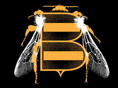 B typography bee bumble bee illustration