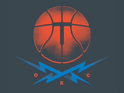 Ball and Crossbolts, shirt design basketball thunder lightning okc nba western conference championships illustration