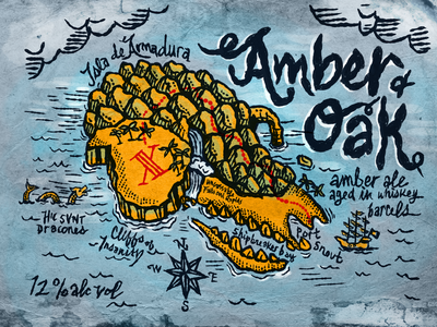 Dead Armadillo Brewery / Amber and Oak pop culture hic svnt dracones x never marks the spot treasure map pirate pirate map beer art dead armadillo beer label beer