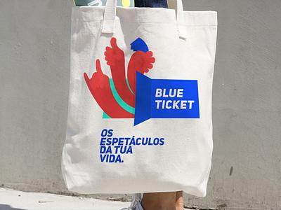 Blueticket - tote bag music hands canvas bag merchandising tote bag logo illustration identity