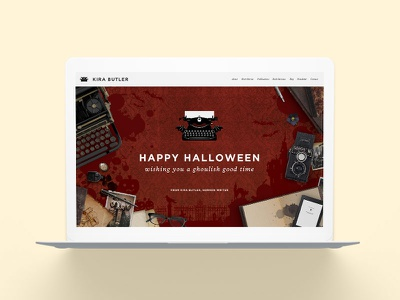 KiraButler.com Halloween Edition Website haunted house vintage typewriter creepy author writer young adult horror spooky halloween website web