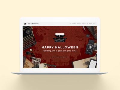 KiraButler.com Halloween Edition Website haunted house vintage typewriter creepy author writer young adult horror spooky halloween website web
