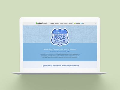 Lightspeed Reseller Road Show Website point of sale pos blue road trip training road signs road show desktop website web startup tech