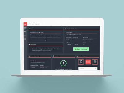 MyLightspeed Product Dashboard Website Design red navy blue notifications status system startup tech management software dashboard website web