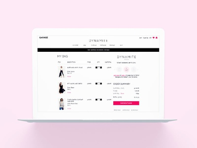Dynamite eCommerce Checkout girls women clothing style fashion retail shopping bag cart checkout ecommerce user experience ux