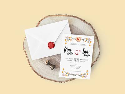 Autumn Wedding Invitation brushletter watercolour rustic leaves autumn fall marriage print wedding invitation invite