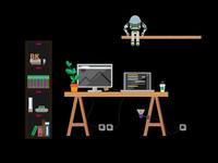 Illustration Flat Design Desk