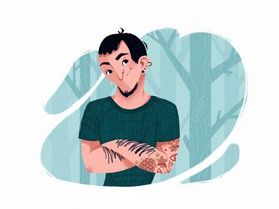 The tattooed man cute web portrait design illustration
