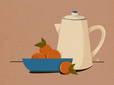 Tangerines bowl tangerine teapot blue orange still life stilllife web drawing illustration design
