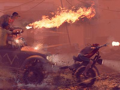 Brasil 2047 - Part V fire flame crew gang futurism cyberpunk brasil animation digital illustration
