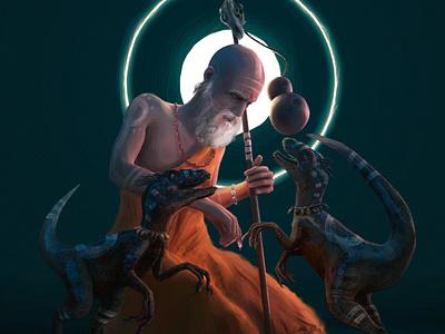 """The Baptism of Omni & Pryia"" painting 3d blender3d dinosaur monk design draw animation art digital illustration drawing"
