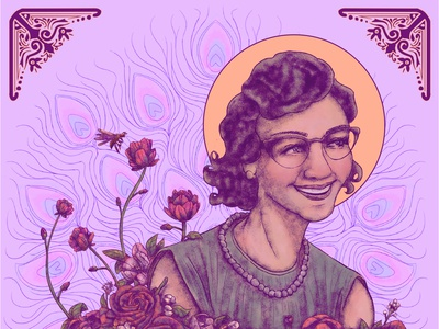 Flannery O'connor draw digital art drawing illustraion interview peacock flannery writer