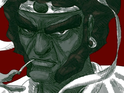 Afro Samurai cartoon samurai afro animated draw animation art digital drawing illustration