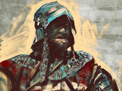 Color sketch knight rider fine art oil portrait painting knight art digital drawing illustration