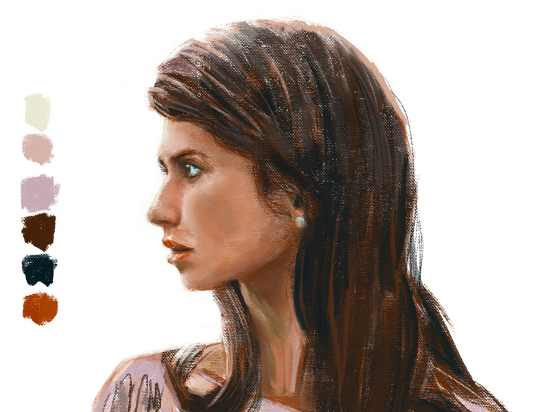 Sister / Irmã profile portrait paint painting digital art drawing illustration