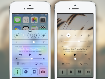iOS 7 Control Center Redesign mobile ios ui user interface iphone apple reimagine ios 7 flat flatland control center redesign
