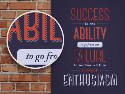 'No Loss of Enthusiasm' Winston Churchill Quote Poster success poster typography quote winston churchill