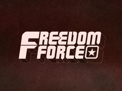 Freedom Force Logo extruding text star title action retro