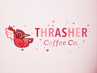 Thrasher Coffee Valentine's Day Logo logo pink cupid craft coffee valentines day