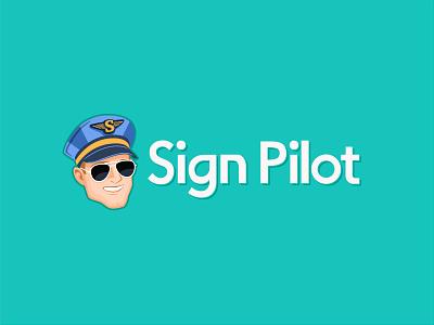 Sign Pilot Logo Mock-up sunglases modern captain pilot sign