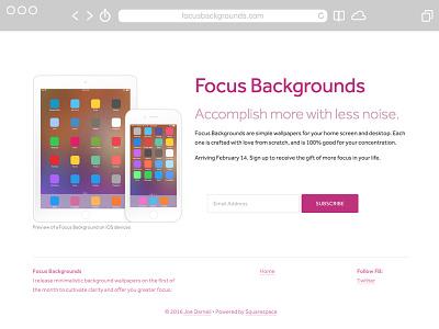 Splash Page for Focus Backgrounds branding sign up splash page minimal focus