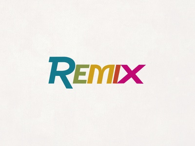 Remix Logo 80s retro rainbow 5 colors logo remix