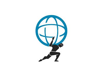 CxO Atlas Logo world roman greek atlas globe blue